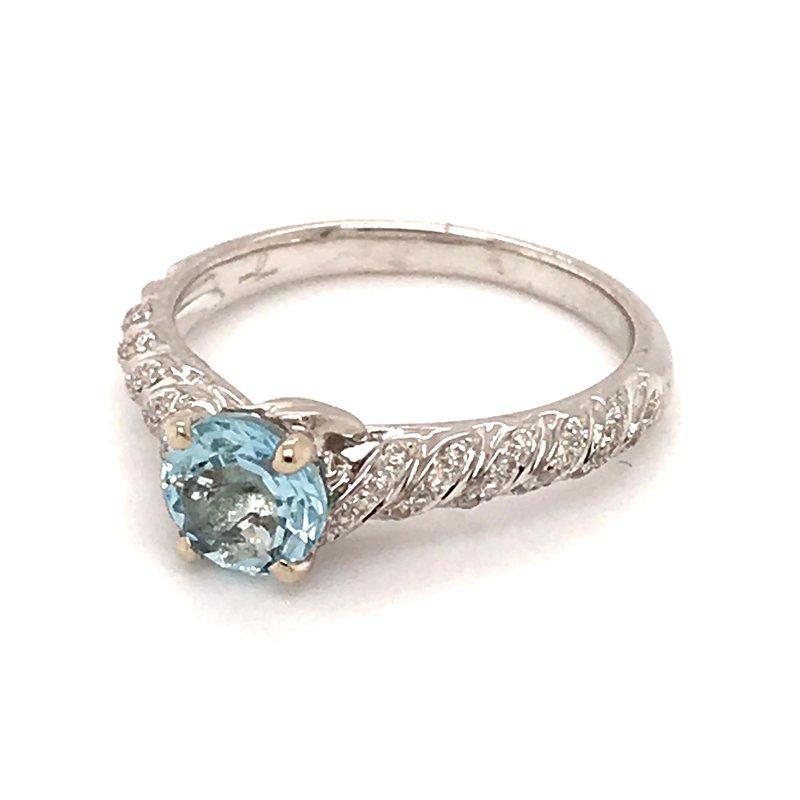 Barany Signature Aquamarine and diamonds fashion ring