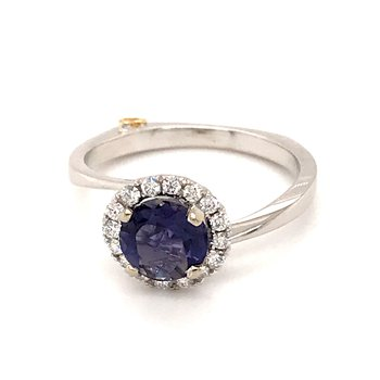 Iolite and diamonds fashion ring