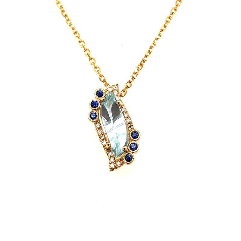 Barany Signature One-of-a-kind custom designed fancy cut aquamarine and sapphires pendant