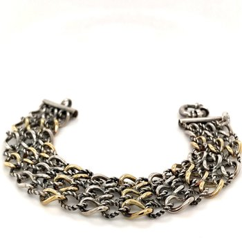 Two tone three row wide link bracelet by Phillip Gavriel