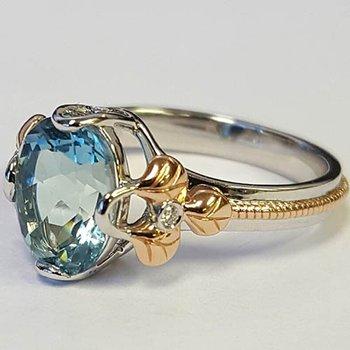 Two Tone 14 Karat Aqua Fashion Ring