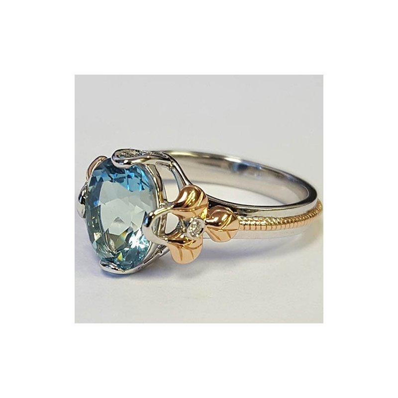 Barany Custom Designs Two Tone 14 Karat Aqua Fashion Ring