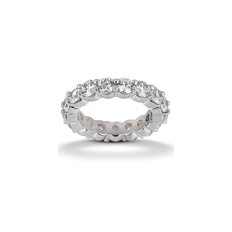 Gold Fire Diamonds Round Eternity Wedding Band