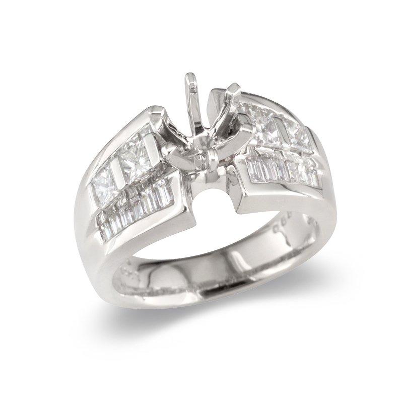 Gold Fire Diamonds Wide Princess & Baguette Semi Mount