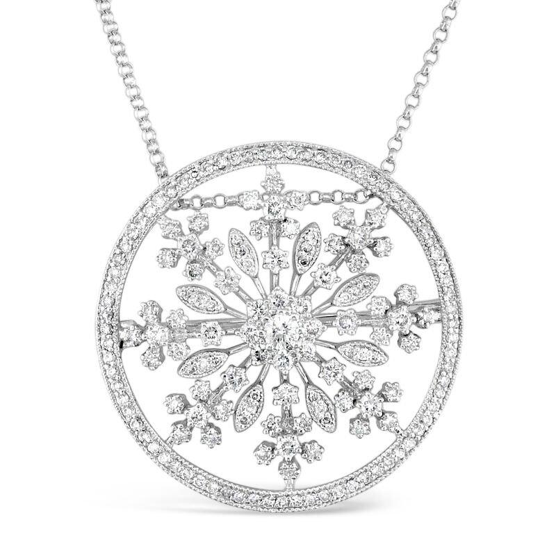 Gold Fire Diamonds Snowflake Convertible Pin/Pendant