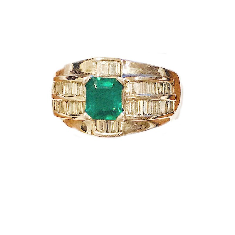 Gold Fire Diamonds White and Green Cocktail Ring