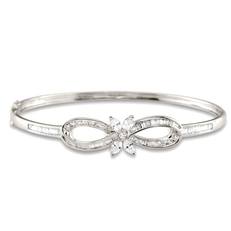 Gold Fire Diamonds Bow and Marquis Bangle Bracelet