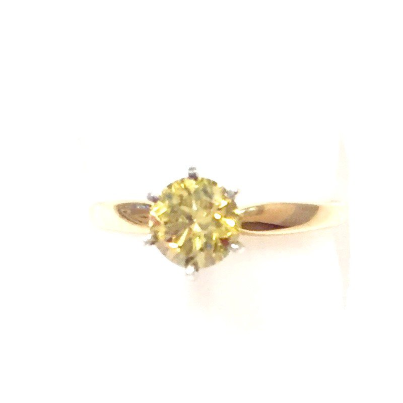 Gold Fire Diamonds Round Yellow Solitaire .75ct