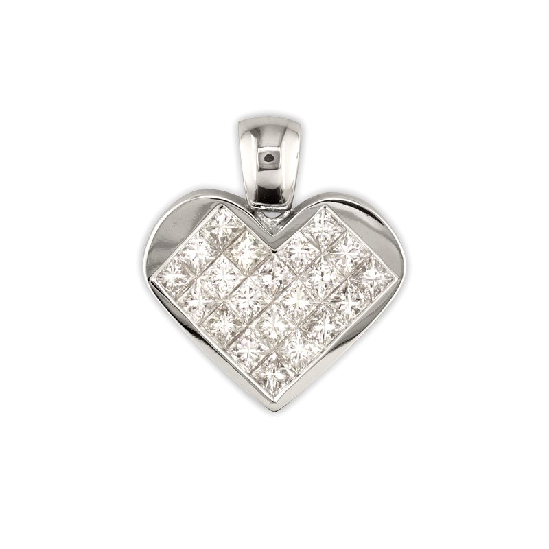 Gold Fire Diamonds Princess Heart Pendant