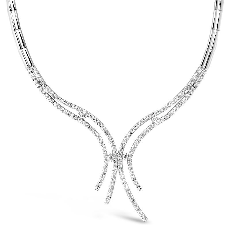 Gold Fire Diamonds Curve Spray  Necklace