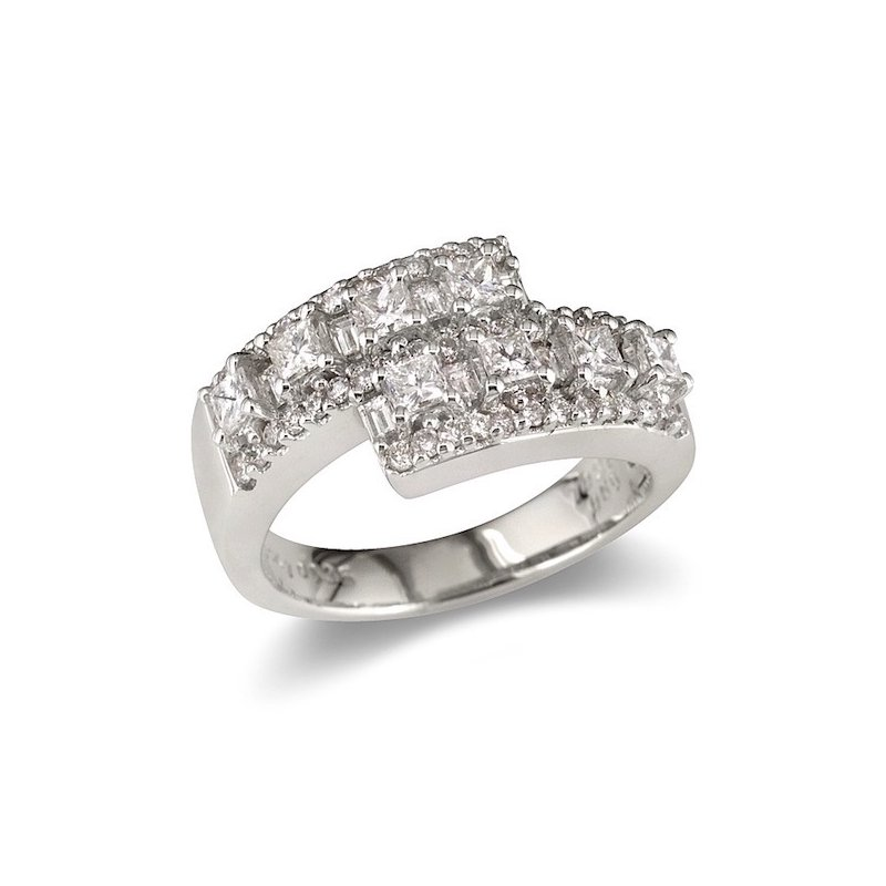 Gold Fire Diamonds Princess & Round Overlap Wedding Band