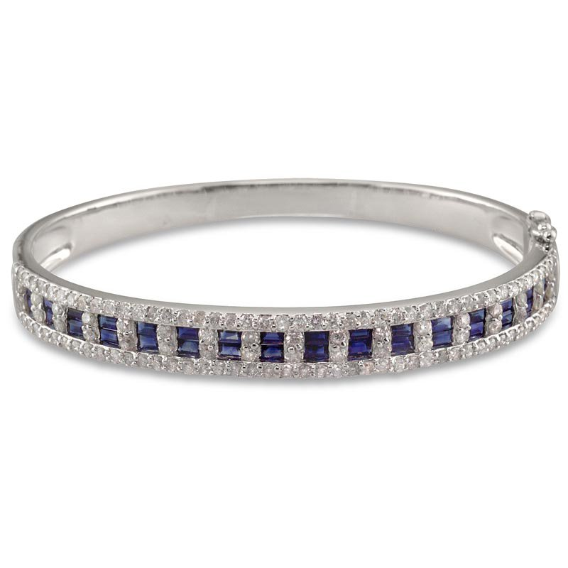Gold Fire Diamonds Baguette Sapphire Bangle