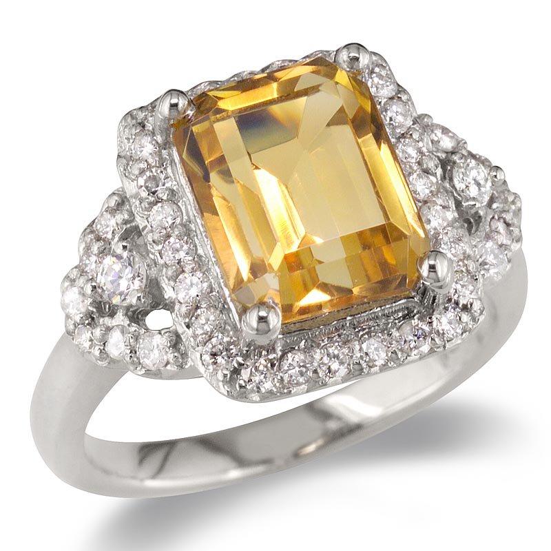 Gold Fire Diamonds Diamond & Citrine Cocktail Ring