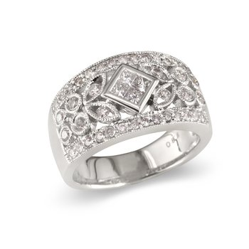 Diamond Center Leaf Wedding Band