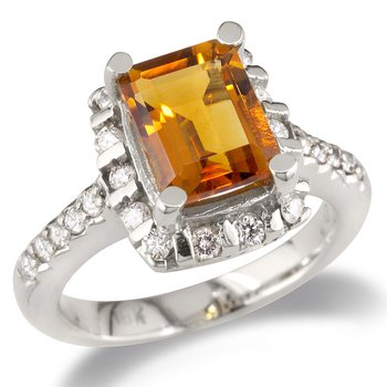 Diamond and Citrine Cocktail Ring