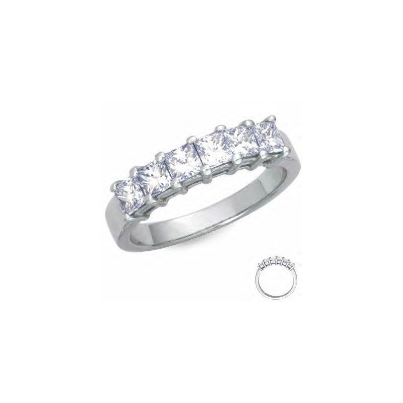 Gold Fire Diamonds 6 Stone Princess Wedding Band