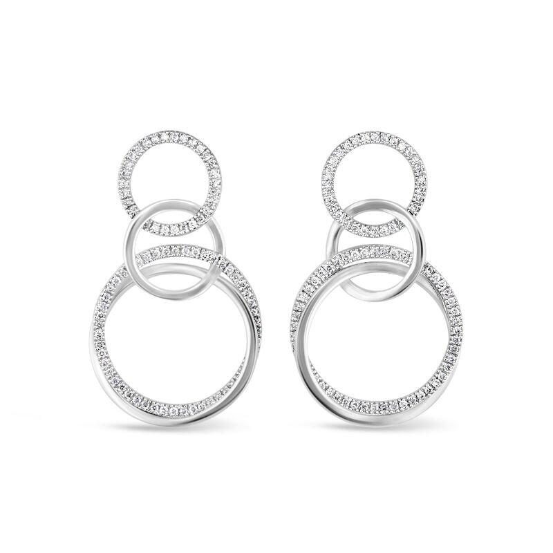 Gold Fire Diamonds Triple Circle Link Earrings