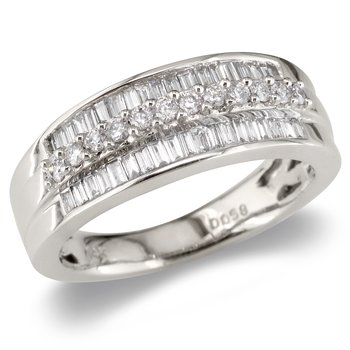 Round & Baguette Triple Row Wedding Band