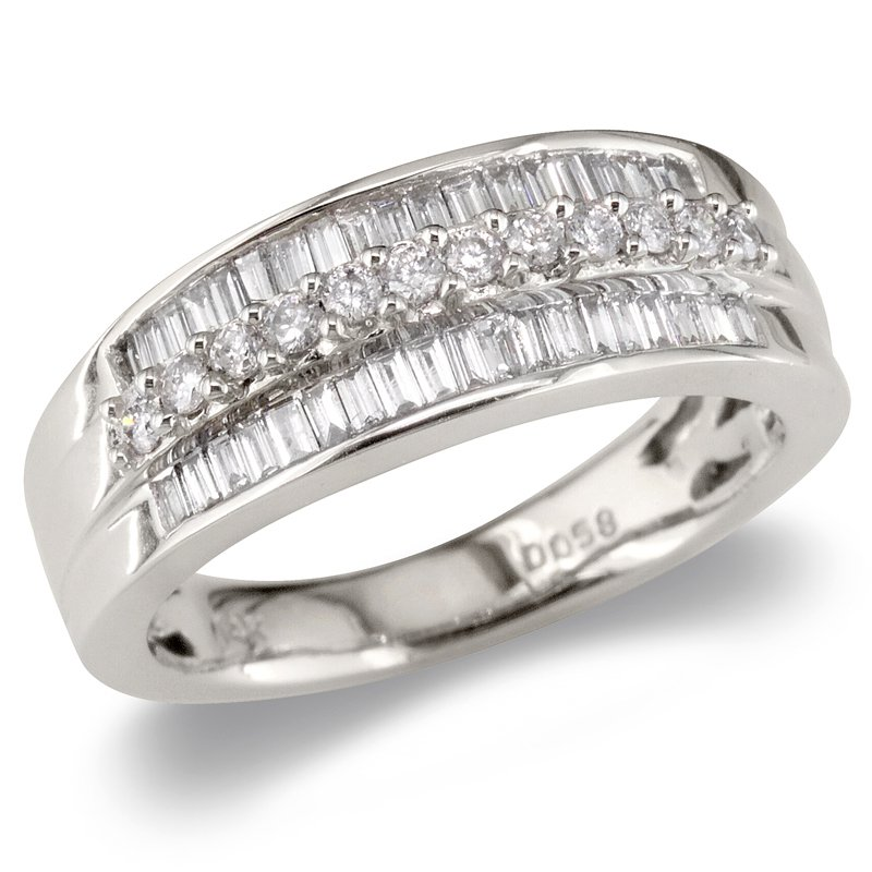 Gold Fire Diamonds Round & Baguette Triple Row Wedding Band