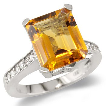 Citrine On Diamond Band