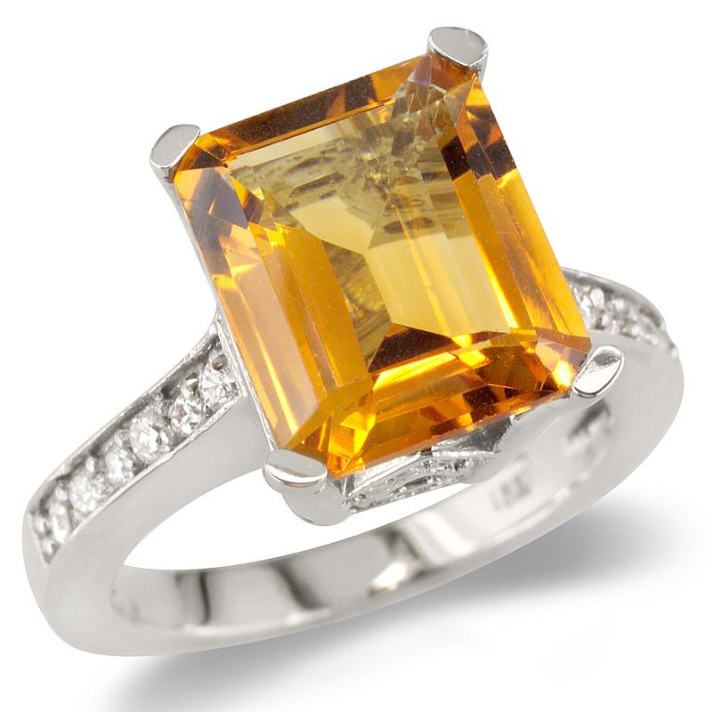 Gold Fire Diamonds Citrine On Diamond Band