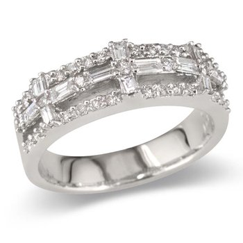 Baguette Cross Center Wedding Band
