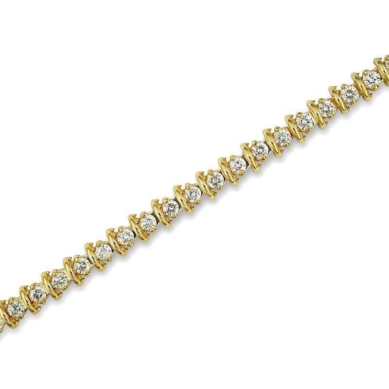 Gold Fire Diamonds Bar Link Tennis Bracelet