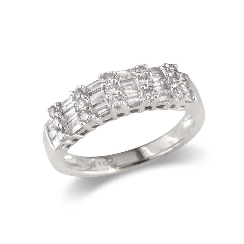 Gold Fire Diamonds Vertical Row Wedding Band