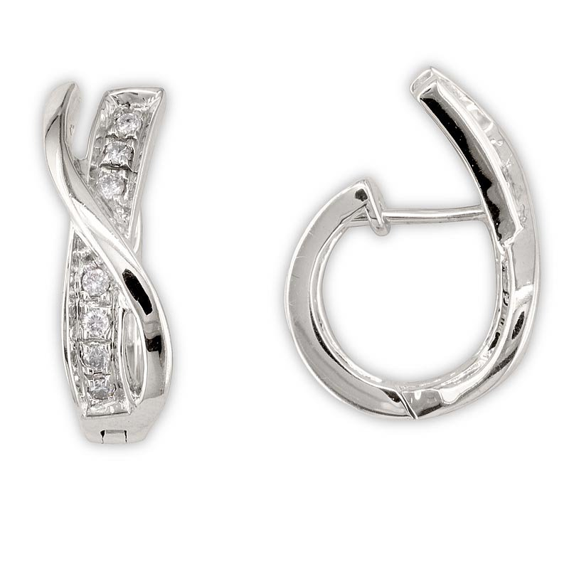 Gold Fire Diamonds Crossover Hinge Back Hoops