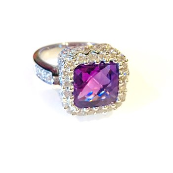 Amethyst Basket Cocktail Ring