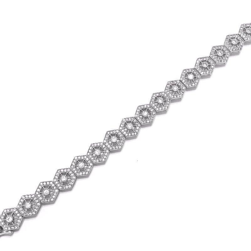Gold Fire Diamonds Art Deco Hexagon Bracelet