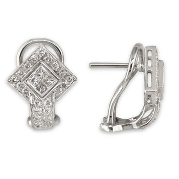 Diamond Shape Hinge Back Earring