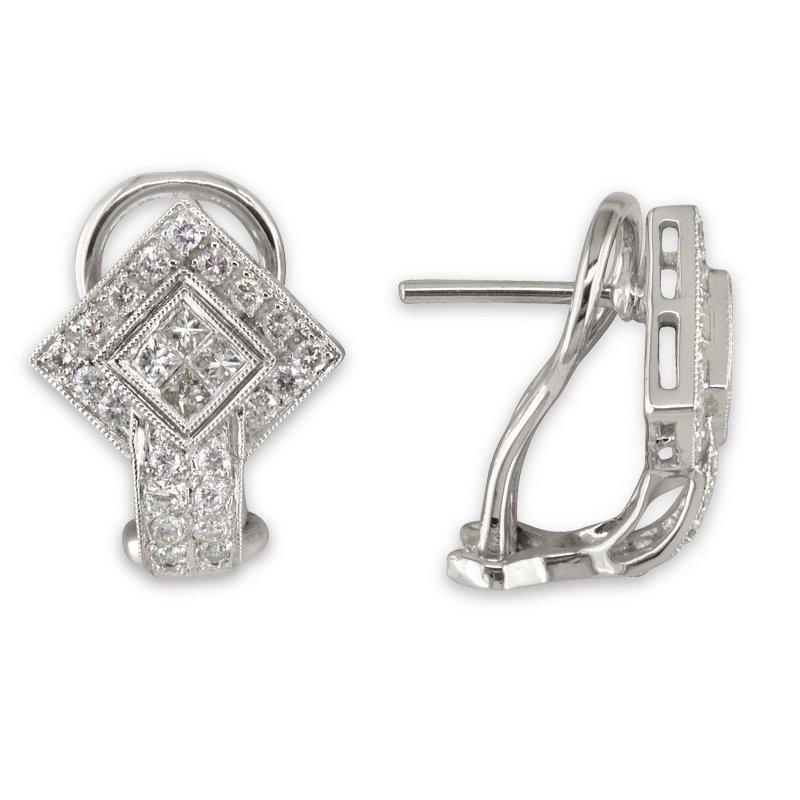 Gold Fire Diamonds Diamond Shape Hinge Back Earring