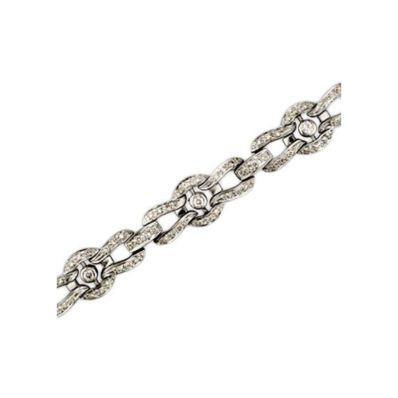 Gold Fire Diamonds Horseshoe, Bar and Circle Link Bracelet