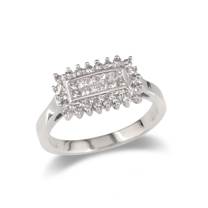 Gold Fire Diamonds Top Mounted Rectangle Cocktail Ring