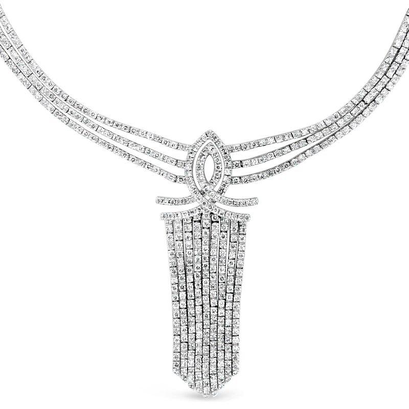 Gold Fire Diamonds Retro Fringe Necklace