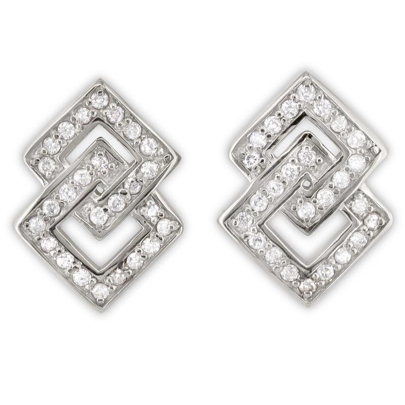 Gold Fire Diamonds Interlocking Square Earrings