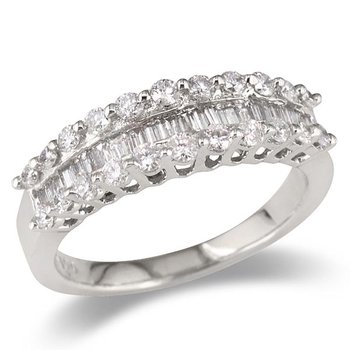 Baguette Center Triple Row Wedding Band