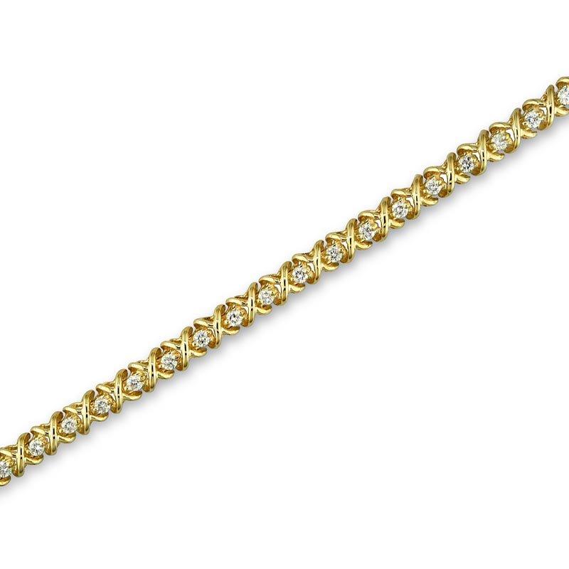 Gold Fire Diamonds X Link Tennis Bracelet