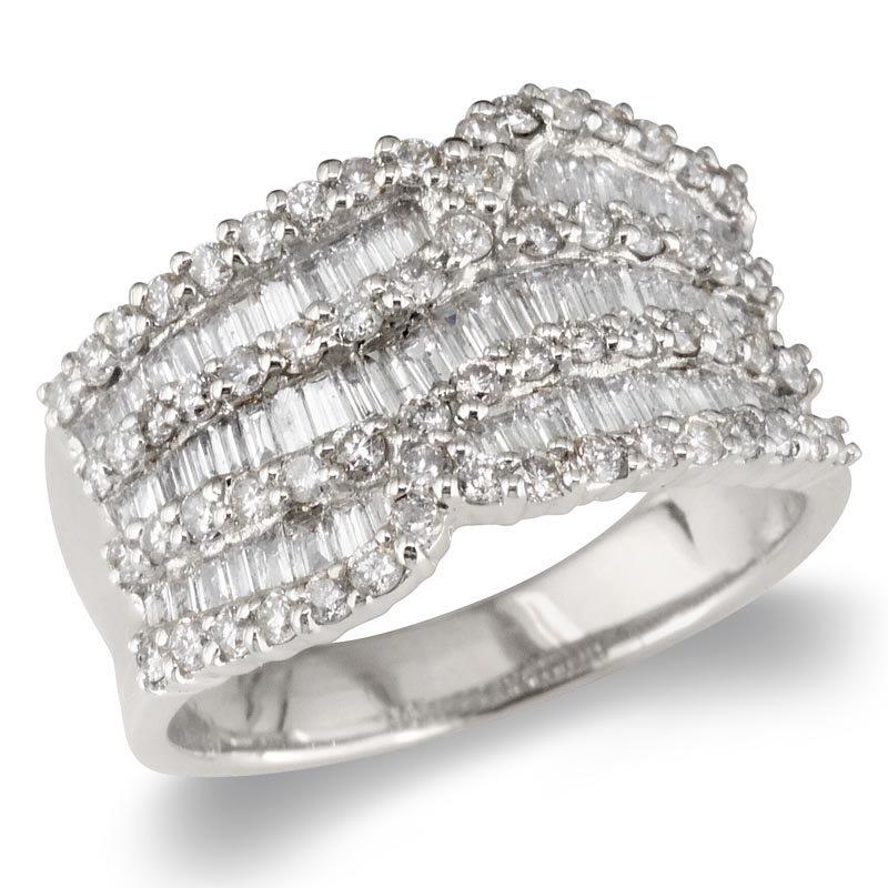 Gold Fire Diamonds Wide 7 Row Wedding Band