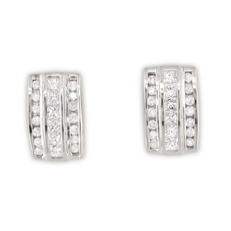 Gold Fire Diamonds Triple Row Huggie Earrings
