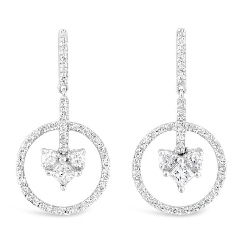 Gold Fire Diamonds Floating Heart Earrings