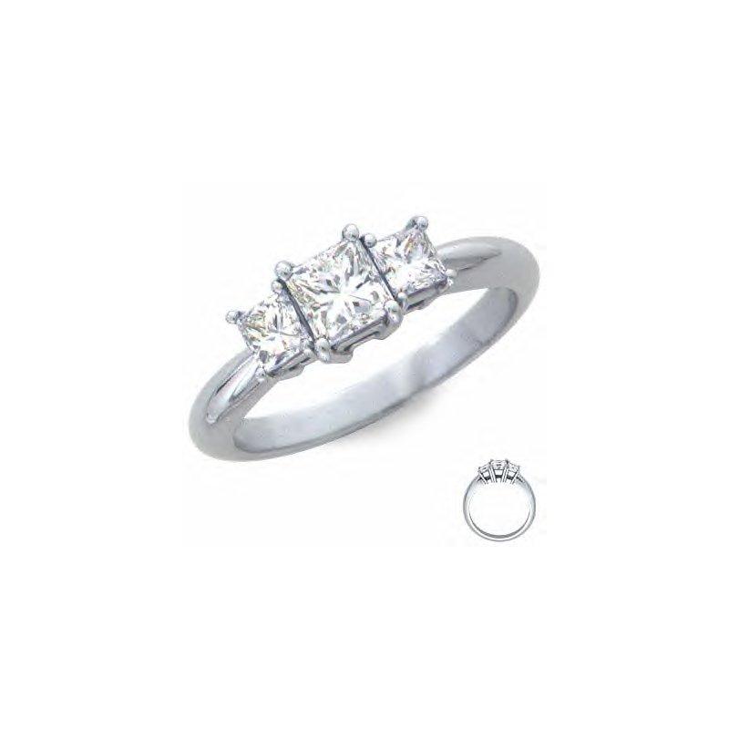 Gold Fire Diamonds One ct Three Stone Princess