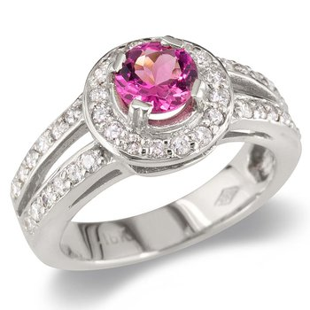 Pink Tourmaline Split Shank Cocktail Ring