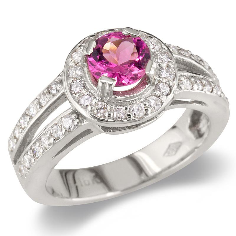 Gold Fire Diamonds Pink Tourmaline Split Shank Cocktail Ring