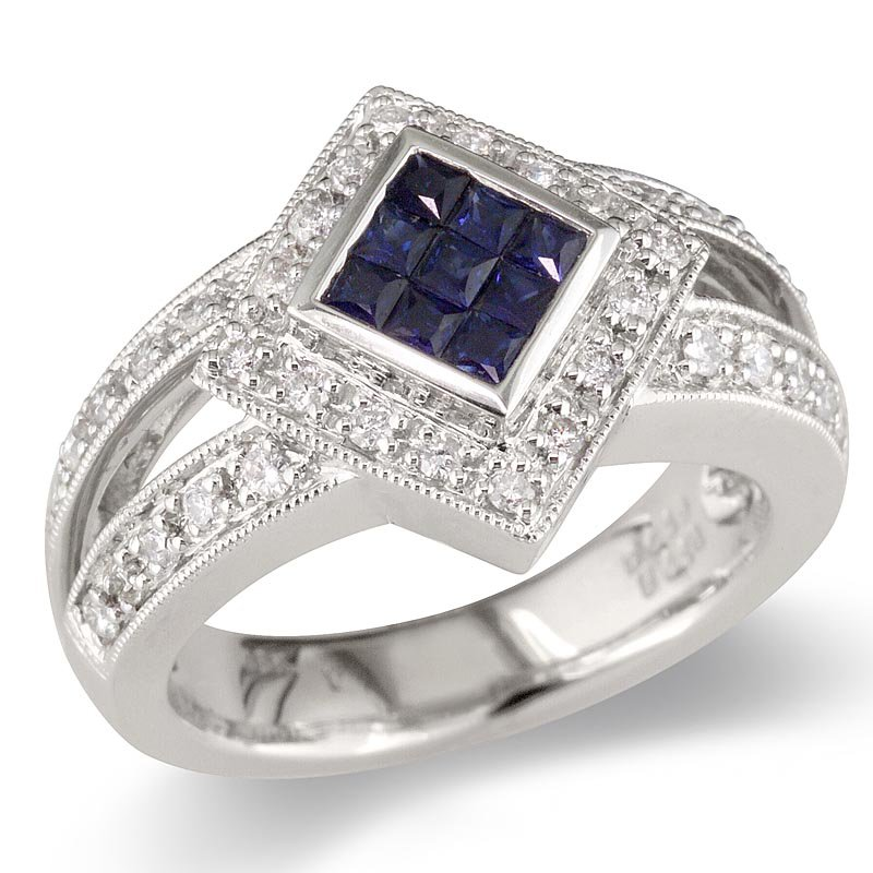 Gold Fire Diamonds Diamond Shape Blue Sapphire Cocktail Ring