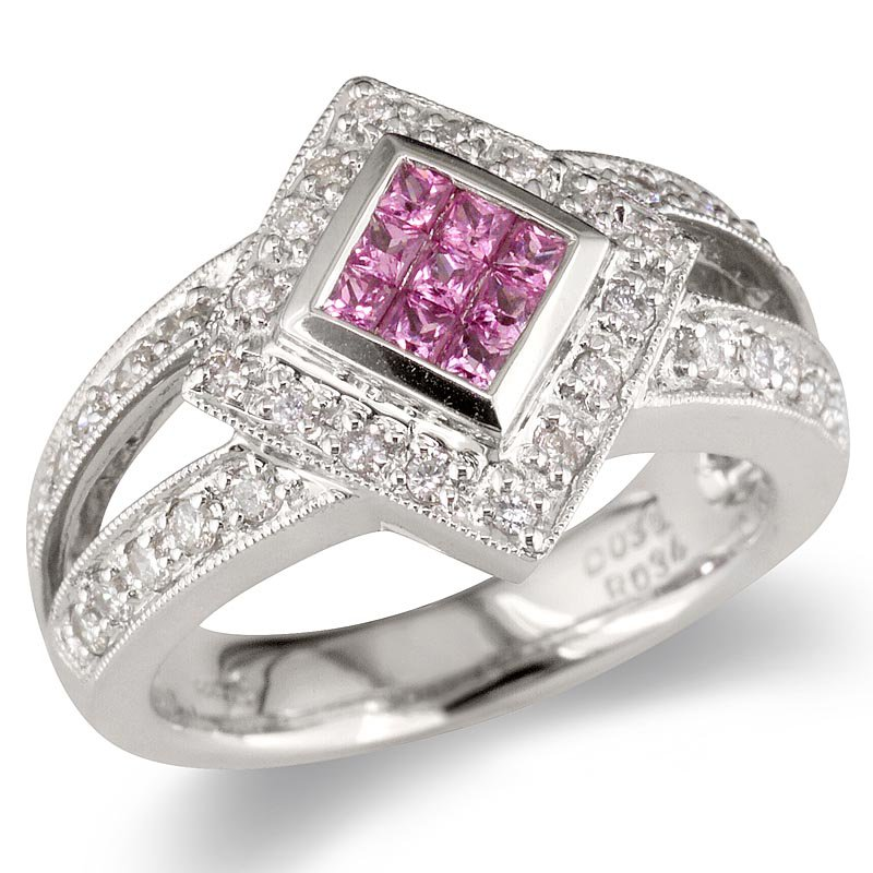 Gold Fire Diamonds Diamond Shape Pink Sapphire Cocktail Ring