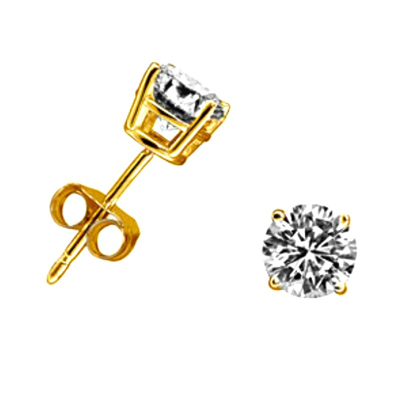 Gold Fire Diamonds 4 Prong Round Stud Earrings 3/4 ct Y