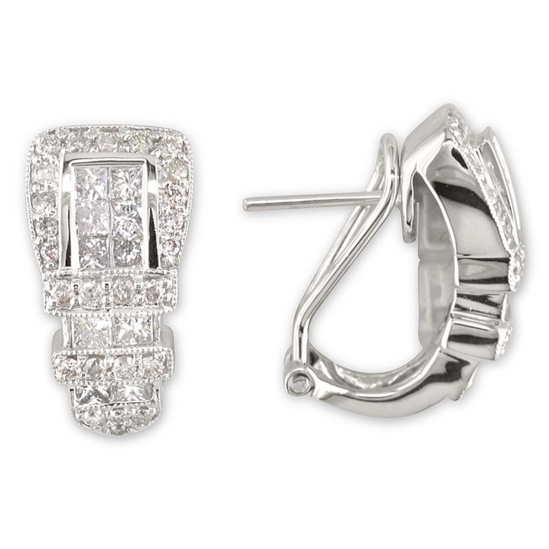 Gold Fire Diamonds Hinged Buckle Earring