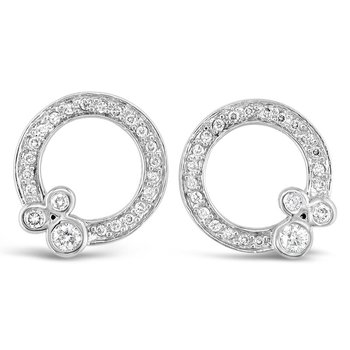 Circle Ornament Stud Earrings